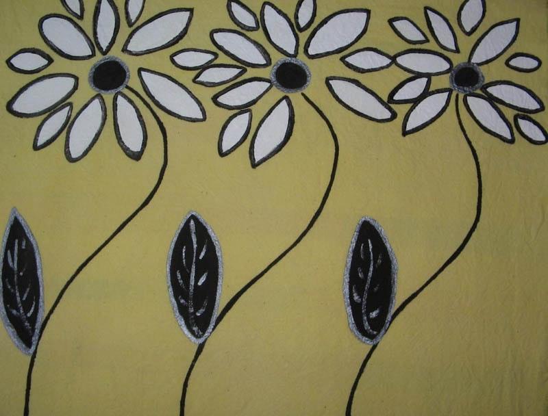 "18""x18"", Acrylic based Textile paints on Cotton, 2009,"