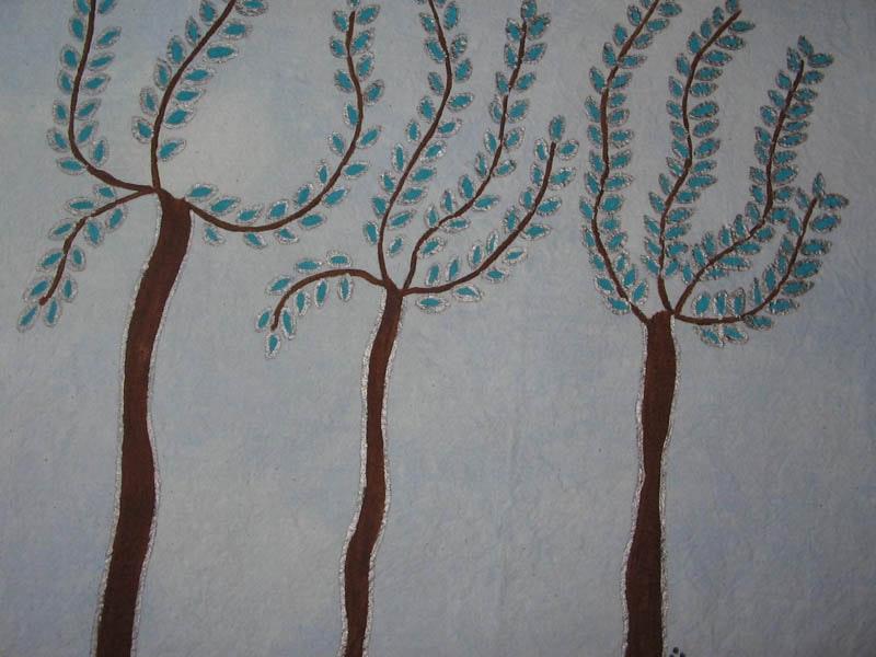 "18"" x 18"", Acrylic based Textile paints on Cotton, 2009,"
