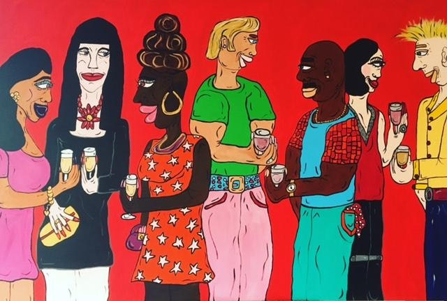 Party Painting 2016 ~ Acrylic on Canvas 4.11ft x 3.4ft (150 x 100cm ) SOLD