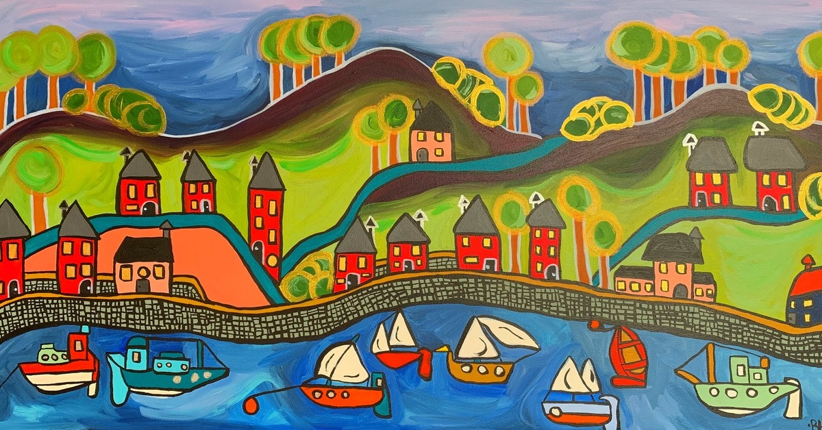 Harbour New 2020 ! Acrylic on Canvas - 100x50cm/39.5x19.5inch