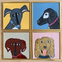 These dog portraits can be sold framed or unframed . Email for details.