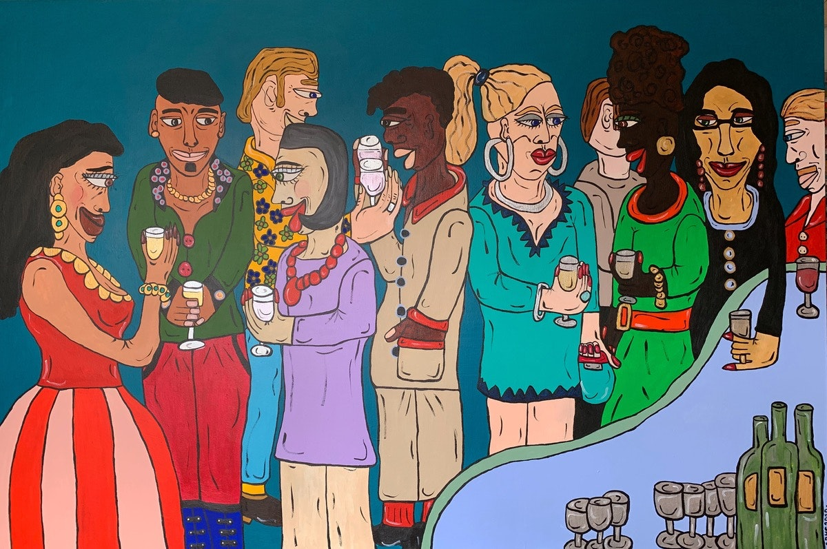 NEW! Party Painting 2020 -Acrylic on Box Canvas -59x39.5inch/150x100cm AVAILABLE